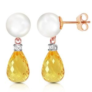 GOLD STUD EARRINGS WITH DIAMONDS, CITRINE & PEARL
